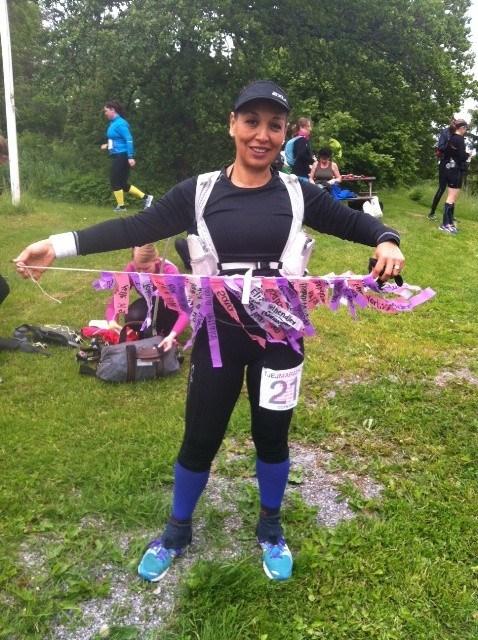 Med alla mina sponsorer på tjejmara 2012