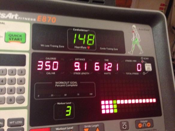 60 minuter = 9.1 km = 350 kcal = jobbigt